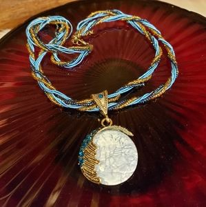 NWT blue beaded Necklace with moon charm